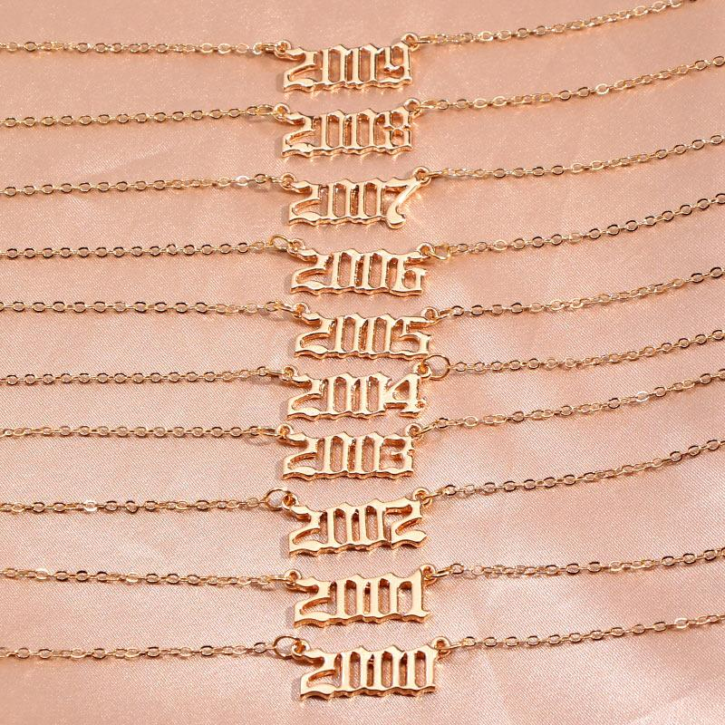 الأزياء ولادة السنة عدد قلادة قلادة هدية عيد ميلاد هدية سحر المقاوم للصدأ قلادة للنساء مجوهرات السنة الخاصة 1980-2019