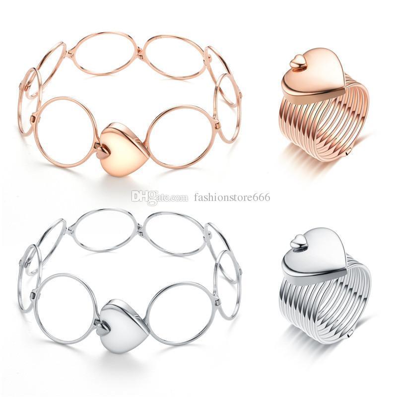 Boda anillos de amor para mujeres niñas acero inoxidable anillo telescópico y pulsera 2 en 1 oro rosa plata oro corazón joyería desgaste