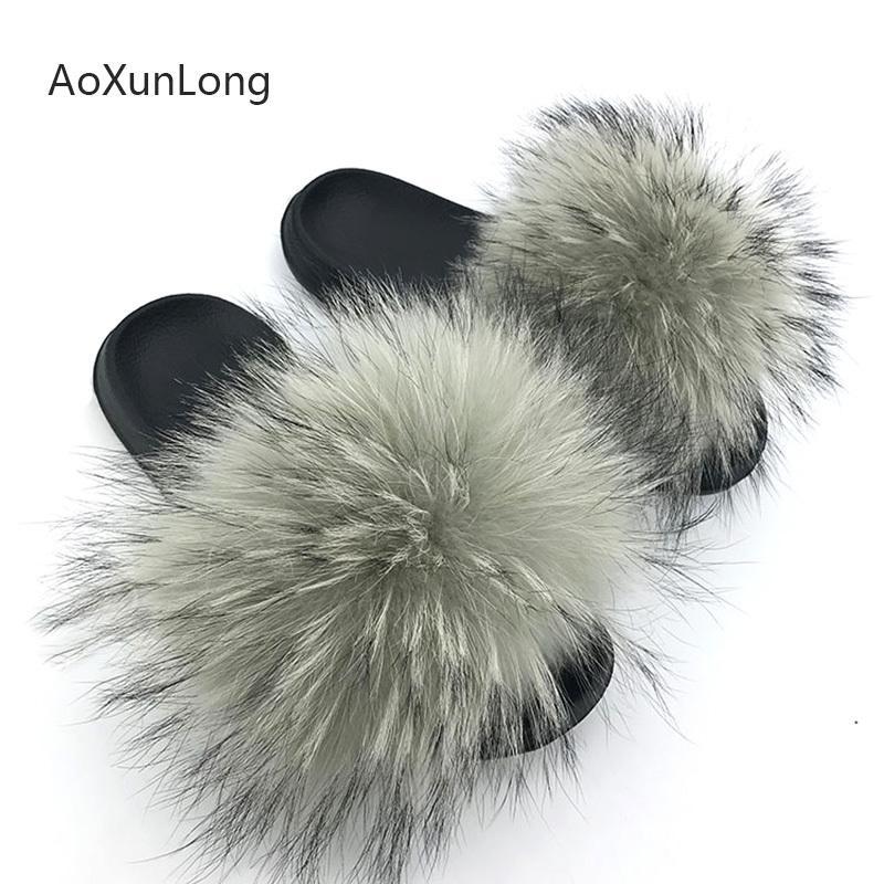 Fox Fur Slippers Slides Shoes Furry Fluffy Slipper Flip Flops Sandals Sliders Drag Sandal,Yellow,7.5