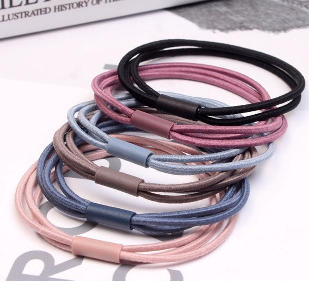 HB069 New fashion hair rope three ring hair rope bottoming head rope 20 pieces/bag The color of the product is shipped randomly