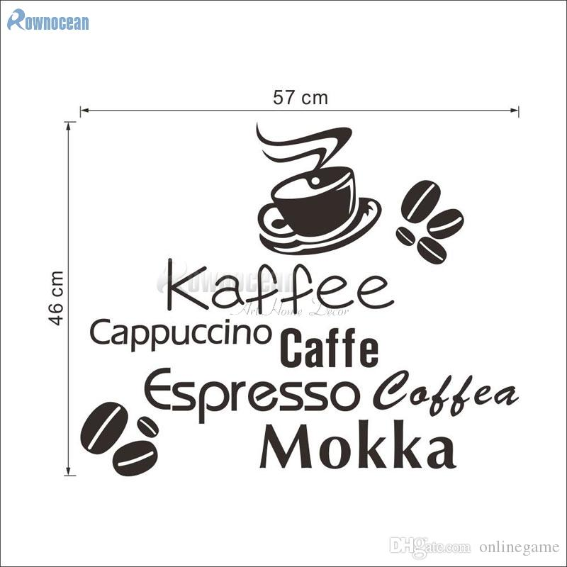 ROWNOCEAN Kaffee Coffee Beans Home Decoration Kitchen Tile Wall Stickers Art English Quotes Cafe Vinyl Removable Mural Wall Art Wall Stickers Wall Art