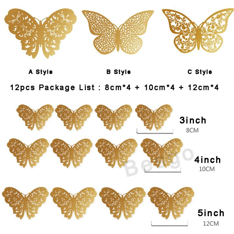 12pcs/Set 3D Butterfly Stickers Hollow Butterfly Art Wall Stickers Bedroom Living Room Home Decor Kids Room DIY Decoration DBC BH2892