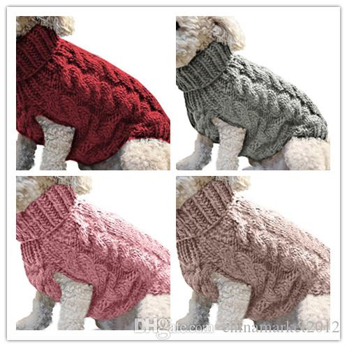 cão cor sólida clássico camisola do cão de estimação roupas de inverno tricô camisola cachorro gatinho gato vestuário outono
