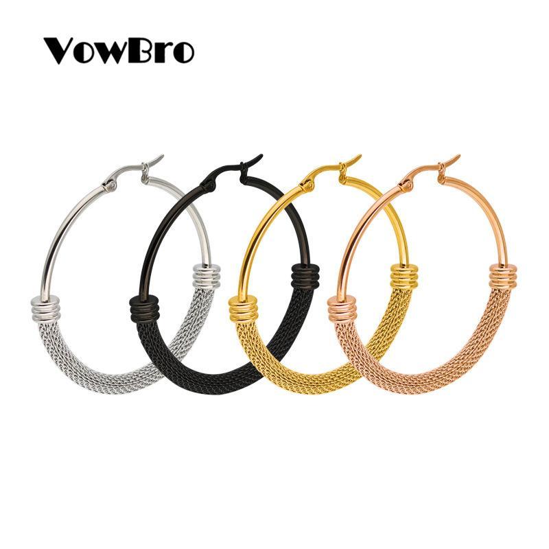 VowBro hohe Qualität 1Pair Big glatte große Ohren klingeln Klar Kreis Runde Hoop-Charme-Ohrringe Wunderbares Geschenk-freies Verschiffen