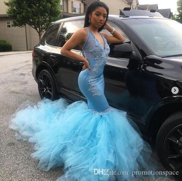 Light Blue Mermaid Prom Dresses 2019 New Lace Applique Beading Illusion V Neck Sleeveless Formal Evening Dress Custom Made Plus Size