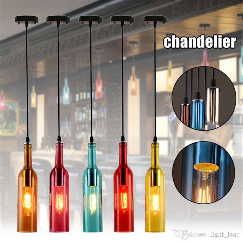 Старинные люстры освещения E27 Красной бутылка вина стекла LED свет подвеска Ресторан Кафе Бар отель бутылка вина висячей лампы