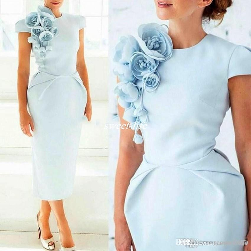 2020 Elegant Formal Mother Of The Bride Dresses with 3D Flower Pageant Short Sleeve Tea-Length Sheath Blue Prom Party Cocktail Gown Evening