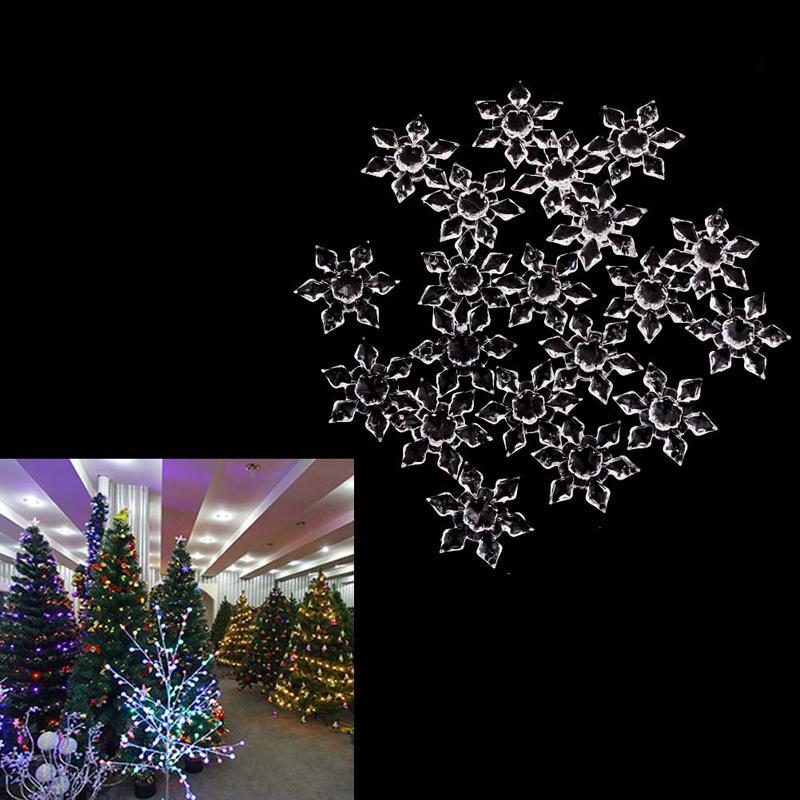 20PCS Décorations de Noël pour Snowflakes Ornements Fête Fête de l'arbre de Noël Hanging Noël Navidad Arbre Décoration