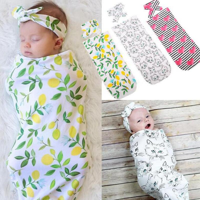 INS bebê de gavetas Blanket Headband 2pcs Blanket 1SET recém-nascido Floral bebê de gavetas Criança Receber Blanket infantil gavetas Enrole KKA7754