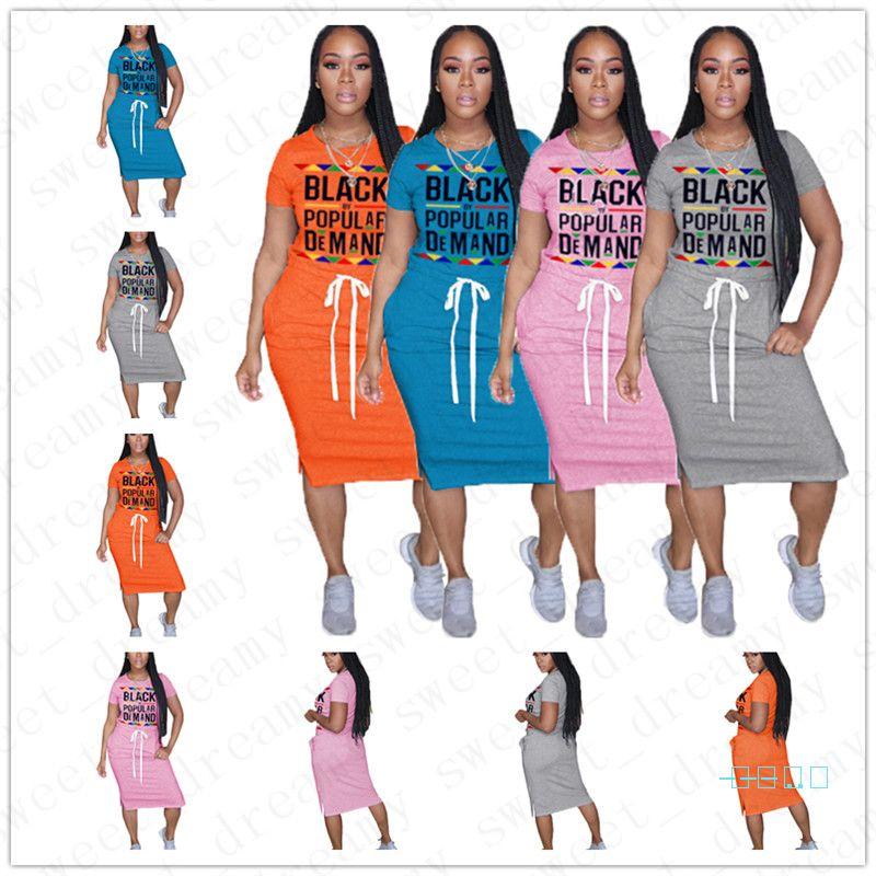 2020 летней женщины Midi Платья женские Модный черный По многочисленным просьбам с коротким рукавом Кружева-Up Упругие талии чай длины платье юбки Новый D5716