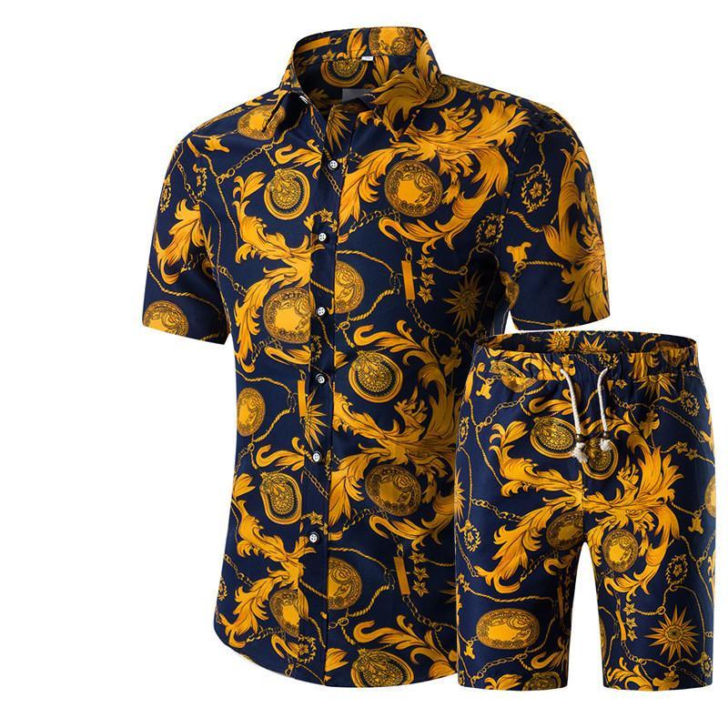망 셔츠 세트 대형 짧은 소매 셔츠 인쇄 망 여름 새로운 둥근 칼라 반바지 정장