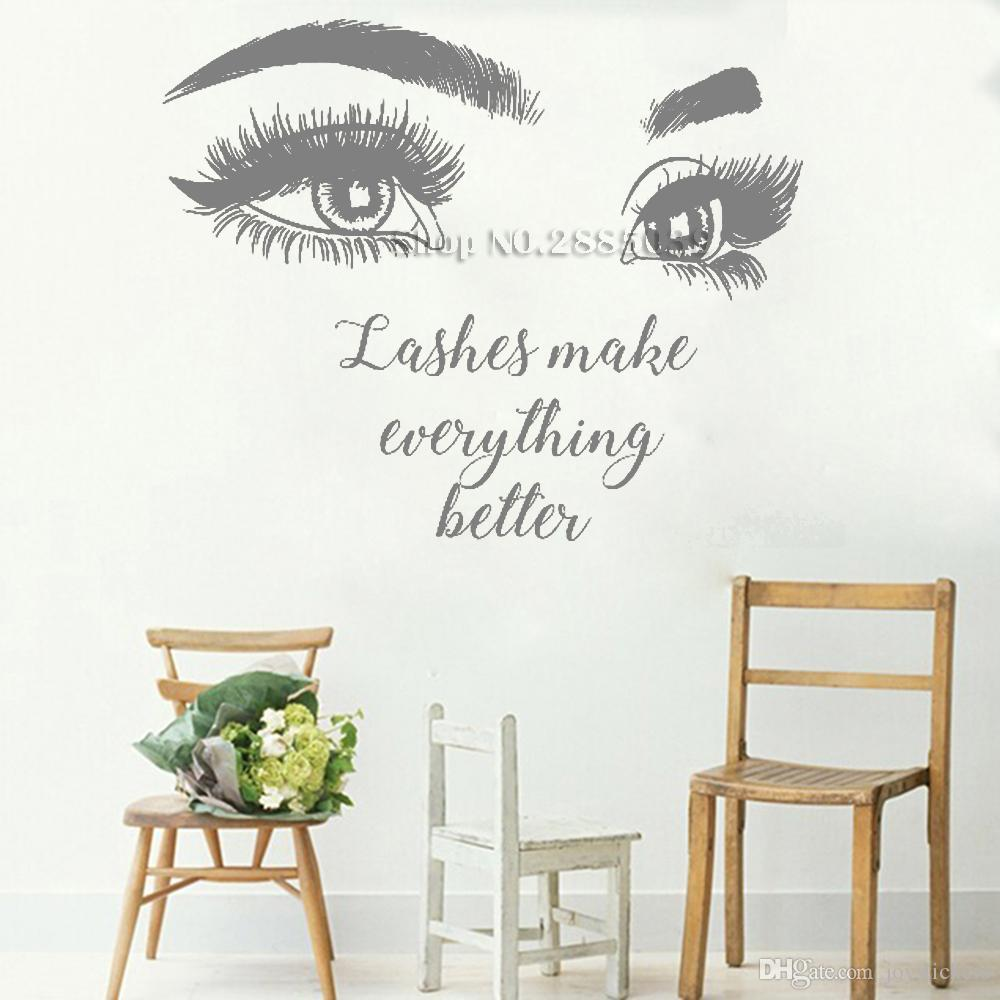 Beautiful Big Eye Eyelashes Wall Stickers Make Up Quotes Beauty Salon Wall Decal Removable Vinyl Sofa Background Decor New Floral Wall Stickers Flower