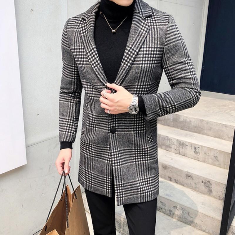 Kış Erkekler Uzun Yün Coat Klasik Ekose Yün Karışımları Palto Tek Breasted Büro Çalışma Man Slim Fit Hendek Coats Sobretudo