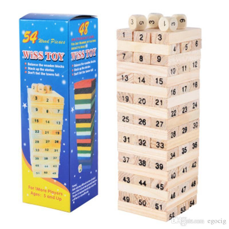 Conselho Jenga gigante Hardwood Jogo Family Game 54pcs digital de madeira que empilha Tumbling Tower Blocks Beber brinquedo presente do miúdo Jogo de Natal