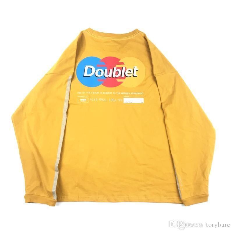 Outono Homens New DOUBLET camisetas Homens Designer Amarelo Preto Grey Bottoming Tops TEE OS solto Tshirts