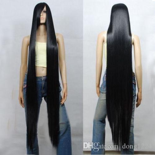 ePacket free shipping >80CM 100CM 120CM 150CM 200CM Black Long Straight Cosplay Party Wig Hair