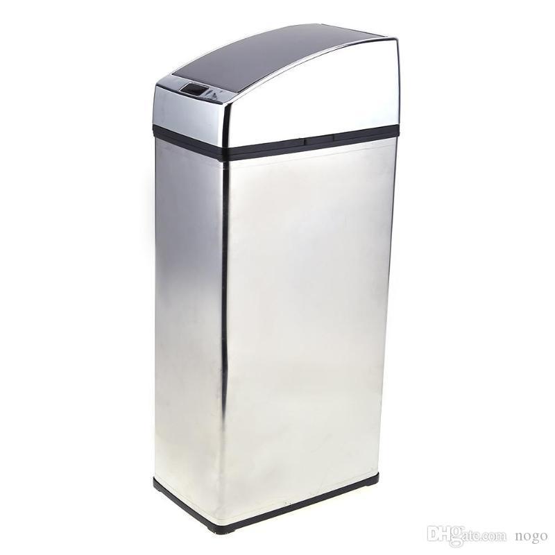 6L الذكية استشعار القمامة يمكن مربع التلقائي اللاسلكية التعريفي بن النفايات الفولاذ المقاوم للصدأ صديقة للبيئة مزبلة سلة المهملات المنزلية
