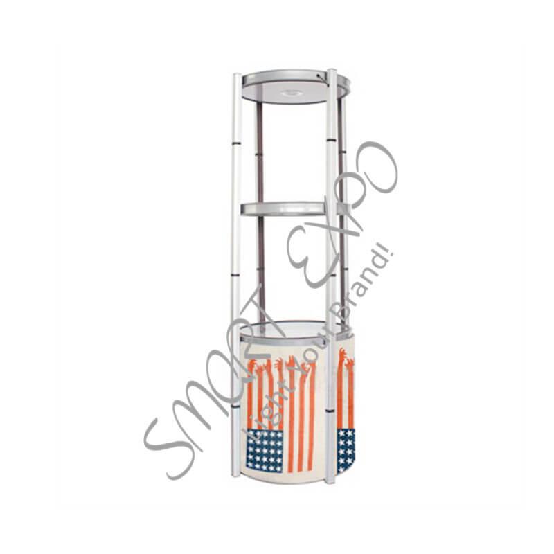 Exibição de 4-Layer Rack de exibição com estrutura de alumínio de torção Transparente Lens Cover Top LED Light Easy Carry Bag