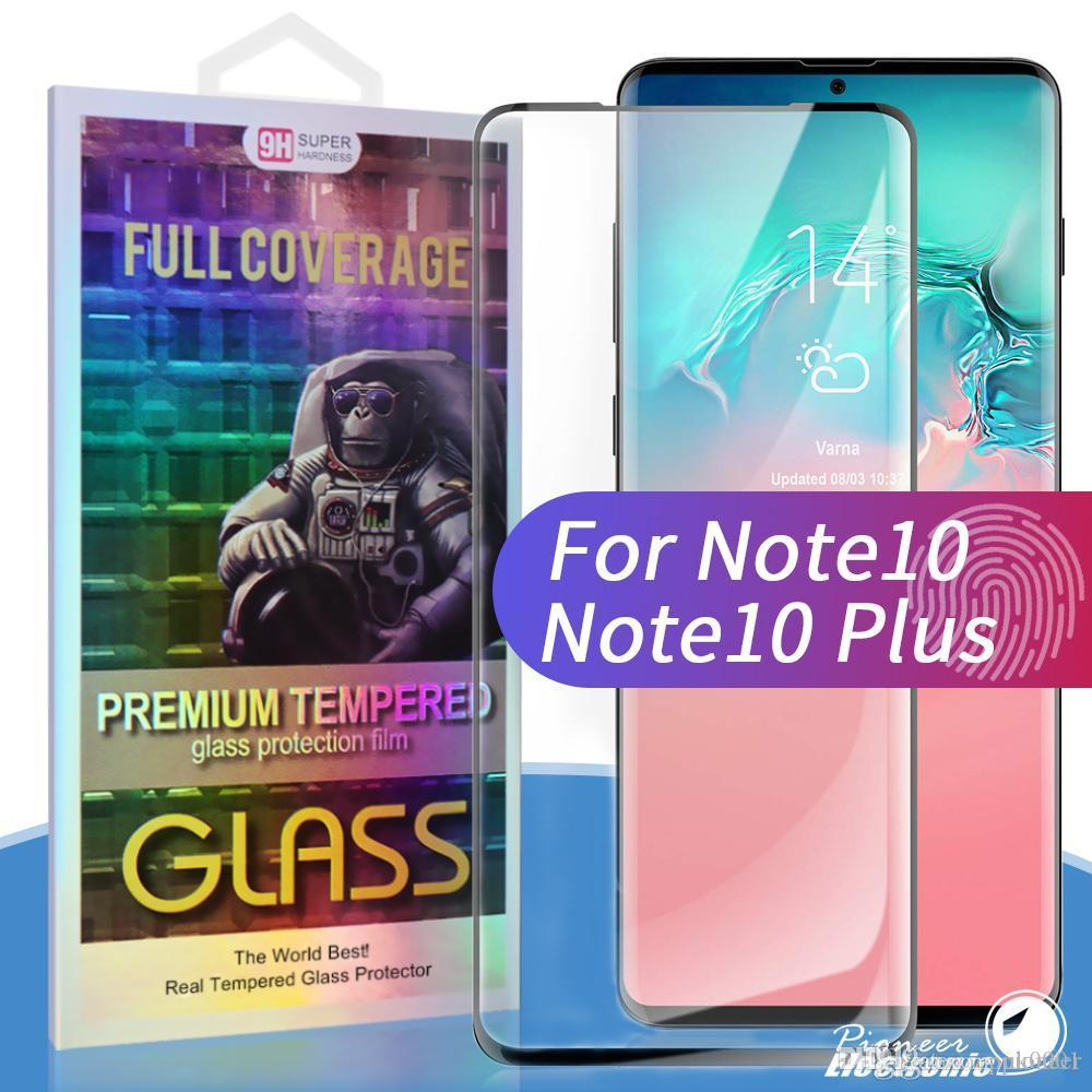 UK For Samsung Galaxy Note 10 tempered glass Case Friendly Fingerprint unclock 3D Curve Edge Screen Protector For s10 s9 s8 plus