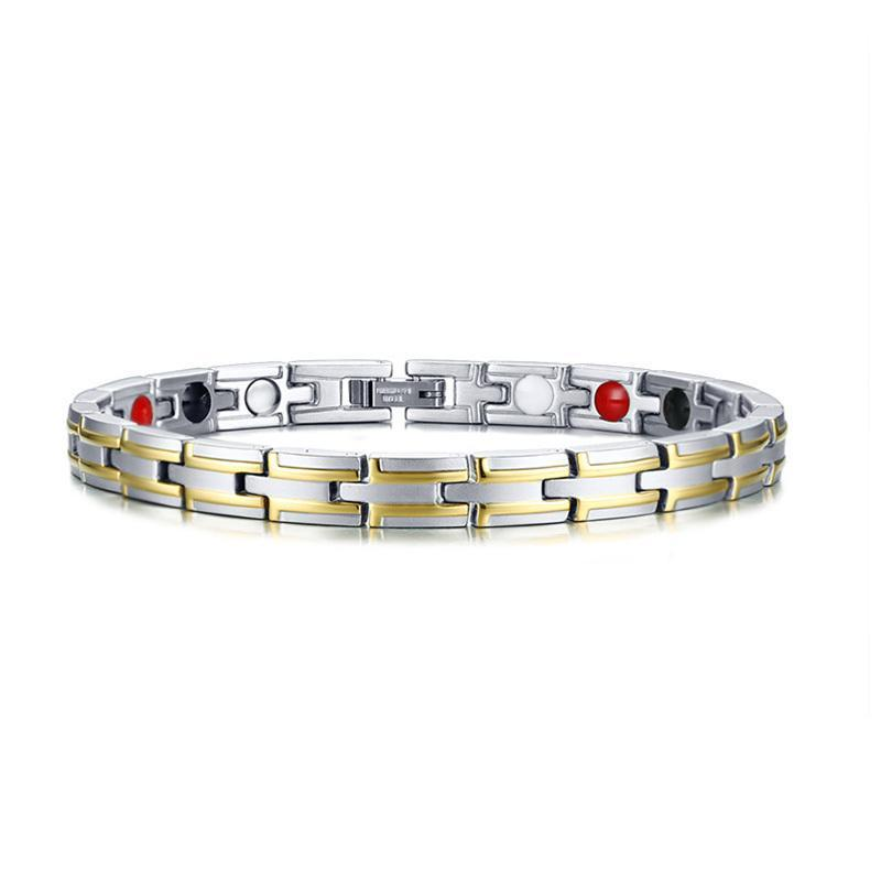 Stainless Steel Therapy Healing Magnetic Bracelets for Women Men Bio Energy Germanium Stones Health Care Jewelry