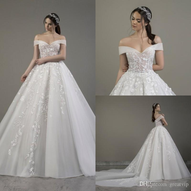 2020 الرباط appliqued الديكور الكرة ثوب الزفاف مصمم معطلة الكتف فاخر تول حديقة في الهواء الطلق أثواب الزفاف الخريف ثوب الزفاف