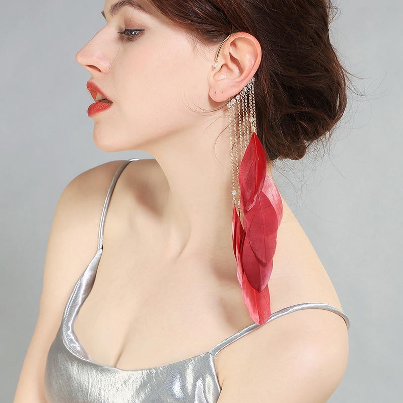 진주 바로크 스타일에 대한 여성 파티 생일 휴가 크리스마스 선물 패션 - 귀걸이 깃털 술의 귀 커프 합금 재료