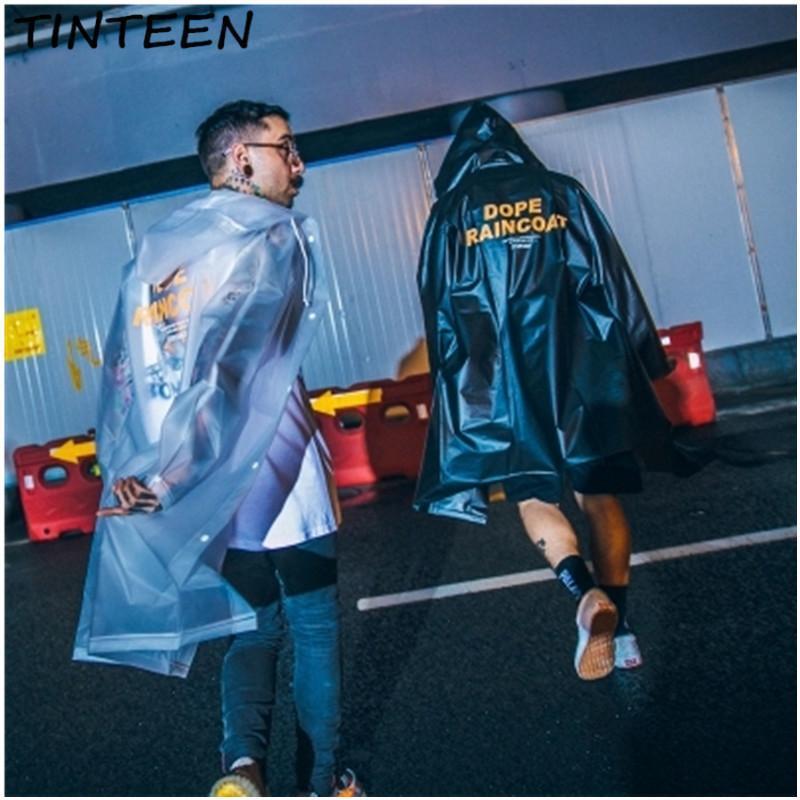 TINTEEN 2018 long hooded windbreaker waterproof and windproof street hiking raincoat couple thin coat HXH168