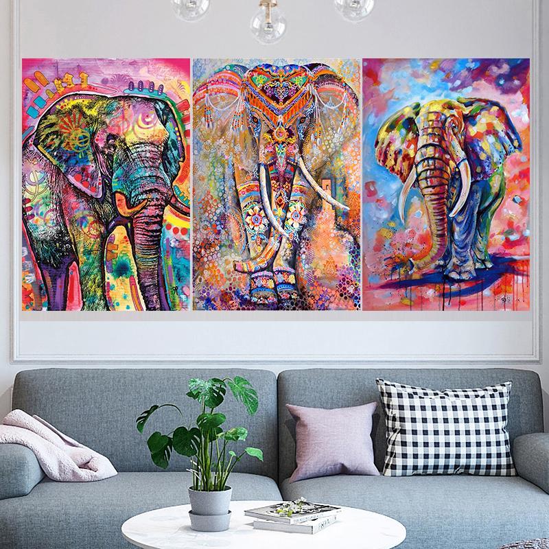 3 Adet / set Renkler Fil Özet DIY Elmas Tablolar Tam Matkap Kare / Yuvarlak 5D Elmas Mozaik İğne Resimlerinde Boyama