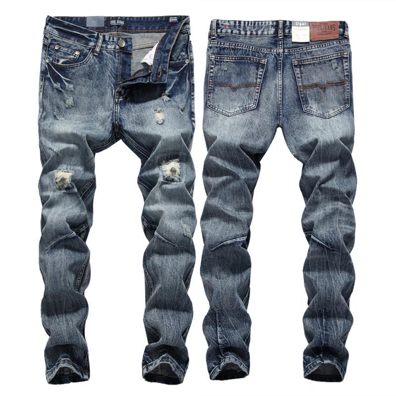 Streetwear Mens Jeans Ripped Denim Full Pants New Biker Jeans Men High Quality Slim Patch Plus Size 1604