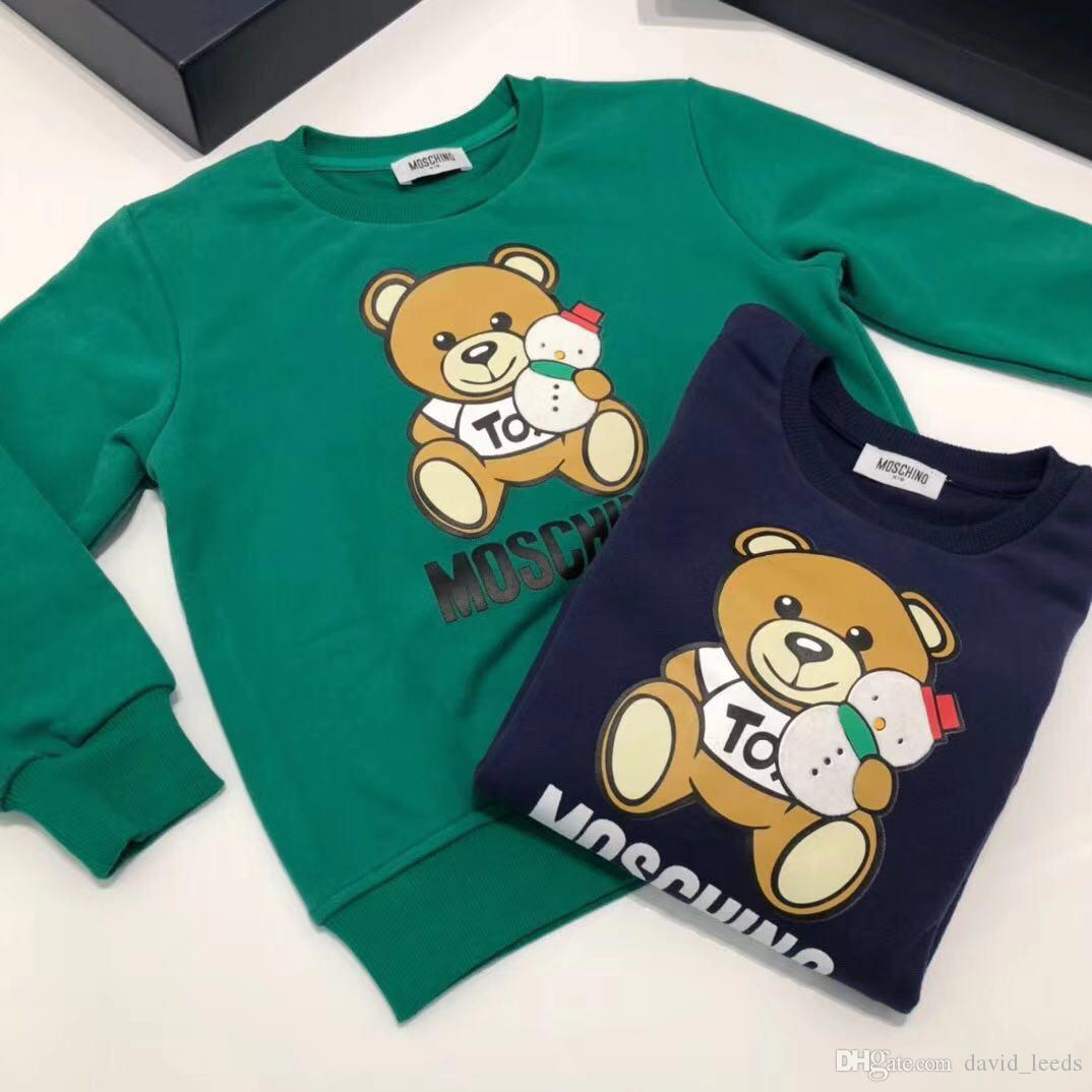 ملابس العلامة التجارية 2020 بنين الجديد بنات البلوز الاطفال الكرتون الدب كم طويل البلوز الربيع الخريف الأطفال البلوزات 90-130cm التجزئة