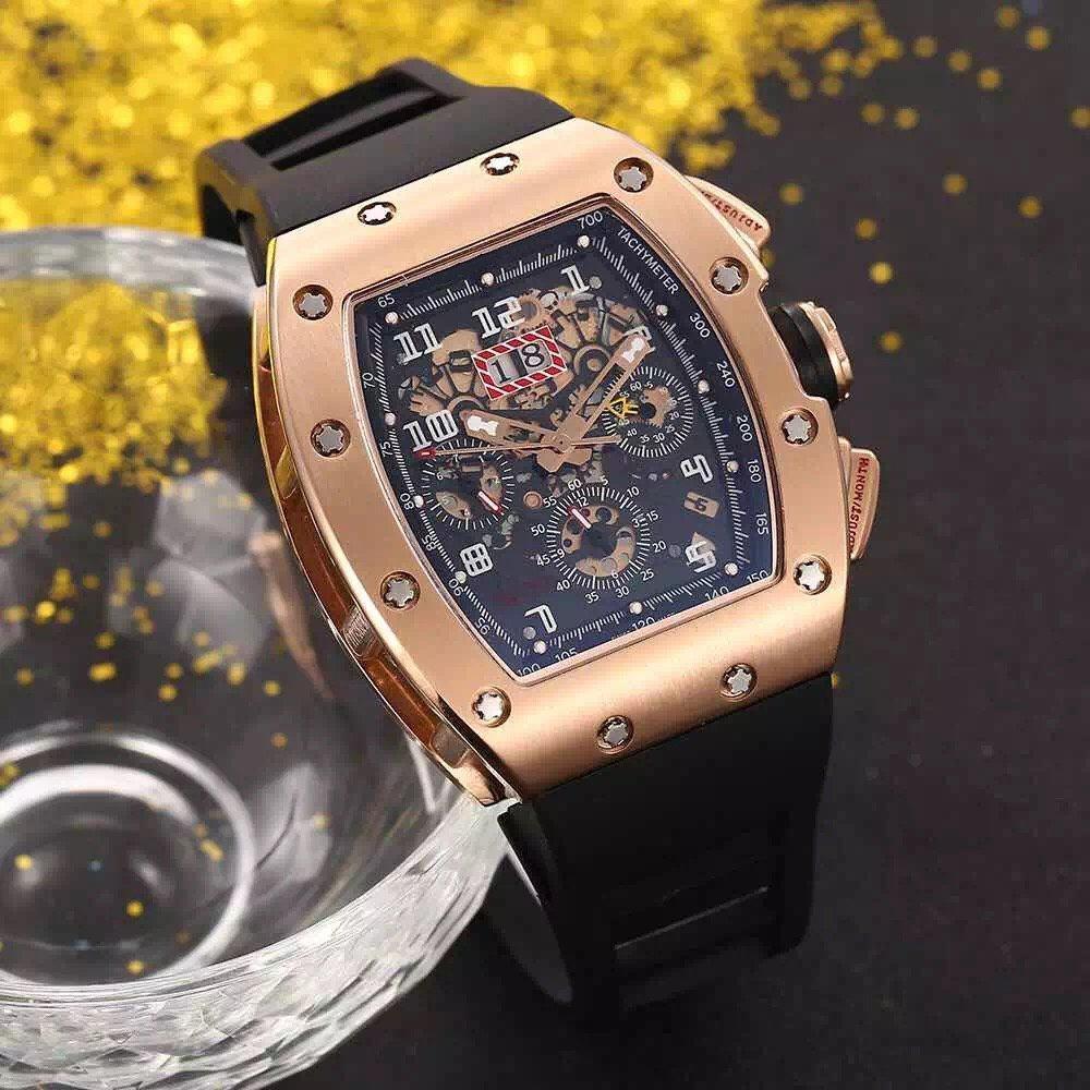 뜨거운 판매 남자 시계 스포츠 손목 시계 탑 판매 남자 기계식 자동식 손목 시계 스테인레스 스틸 케이스 고무 스트랩 032