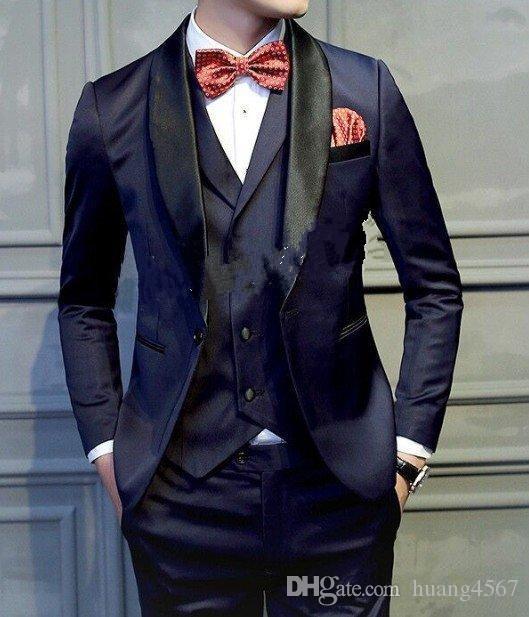 새로운 슬림 피트 백 버튼 한 단추 네이비 블루 웨딩 그루터기 턱시도 어깨 걸이 옷깃 옷장 신사복 정장 댄스 파티 블라우스 (자켓 + 바지 + 조끼 + 넥타이) 193