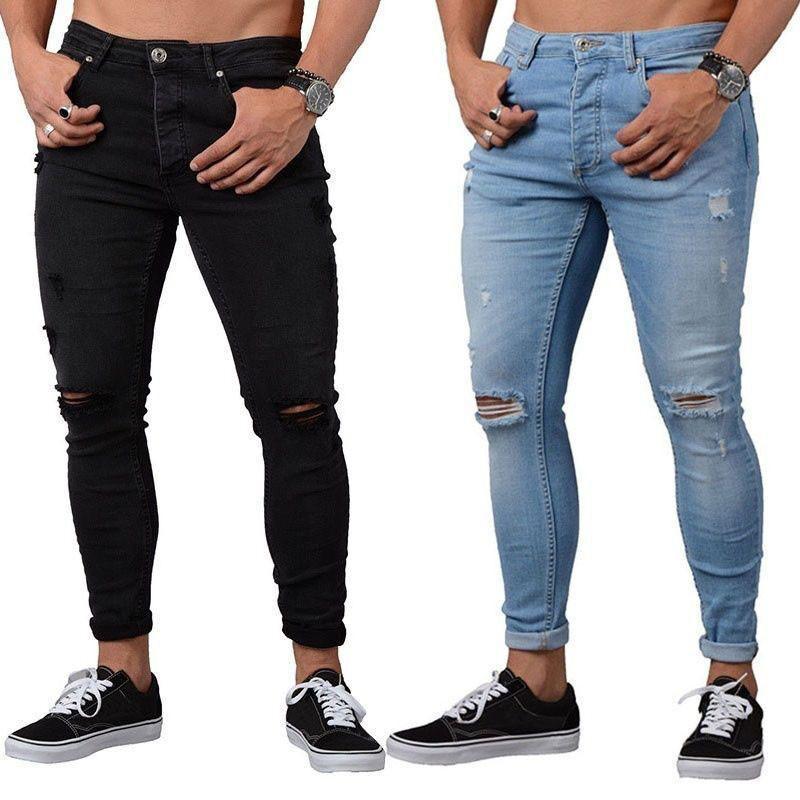 Primavera Men Denim Buraco Jean calças retas calças na moda do vaqueiro Jeans Azul Preto Tamanho S-2XL