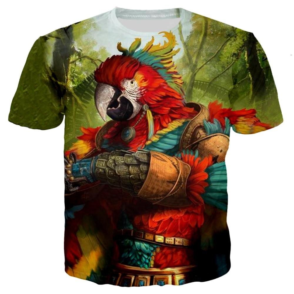 Men 3d tshirt animal Parrot Birds 3d Print T-shirt women New Summer harajuku Casual Tees Streetwear feather peacock painting top