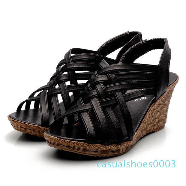 XingDeng Ladies Chaussures européenne Wedges Taille Femmes Mode Sandales 35-40 dames Chaussures Peep Toe Platform Sandales Gladiator Chaussures C03