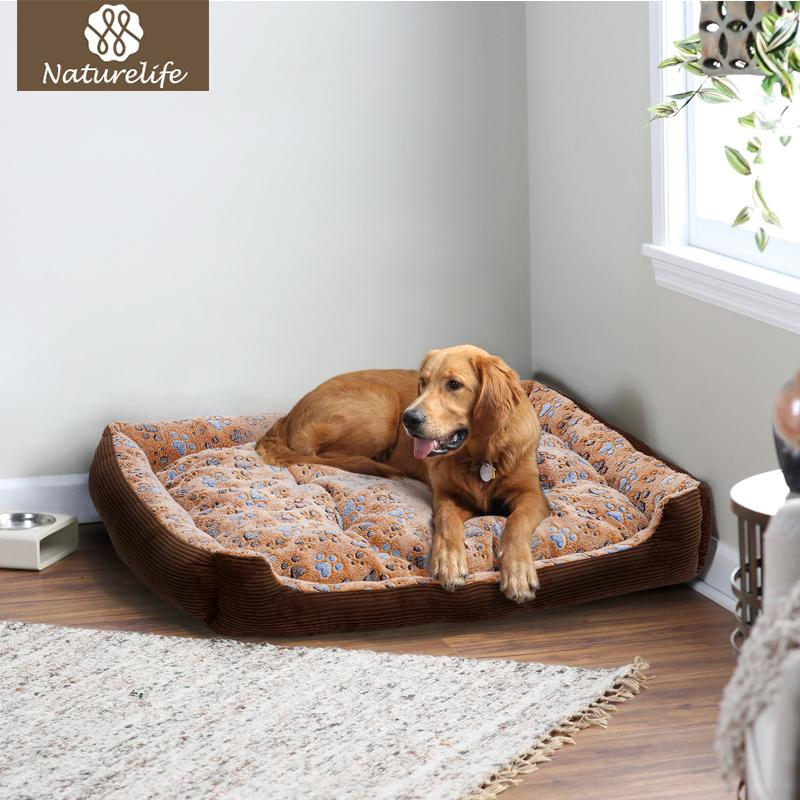 Warm Corduroy Padded Dog Bed Waterproof Washable Pet House Mat Perros Soft Sofa Kennel Dogs Cats house For large dogs D19011201