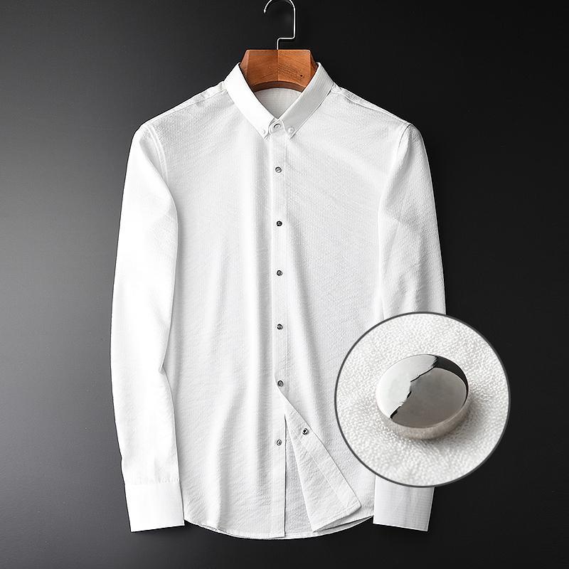 Gençlik Slim Fit Casual Beyaz Adam gömlek 4XL Bahar Erkekler Lüks Kırışıklık Kumaş Uzun Kollu Erkek Giydirme Plus Size
