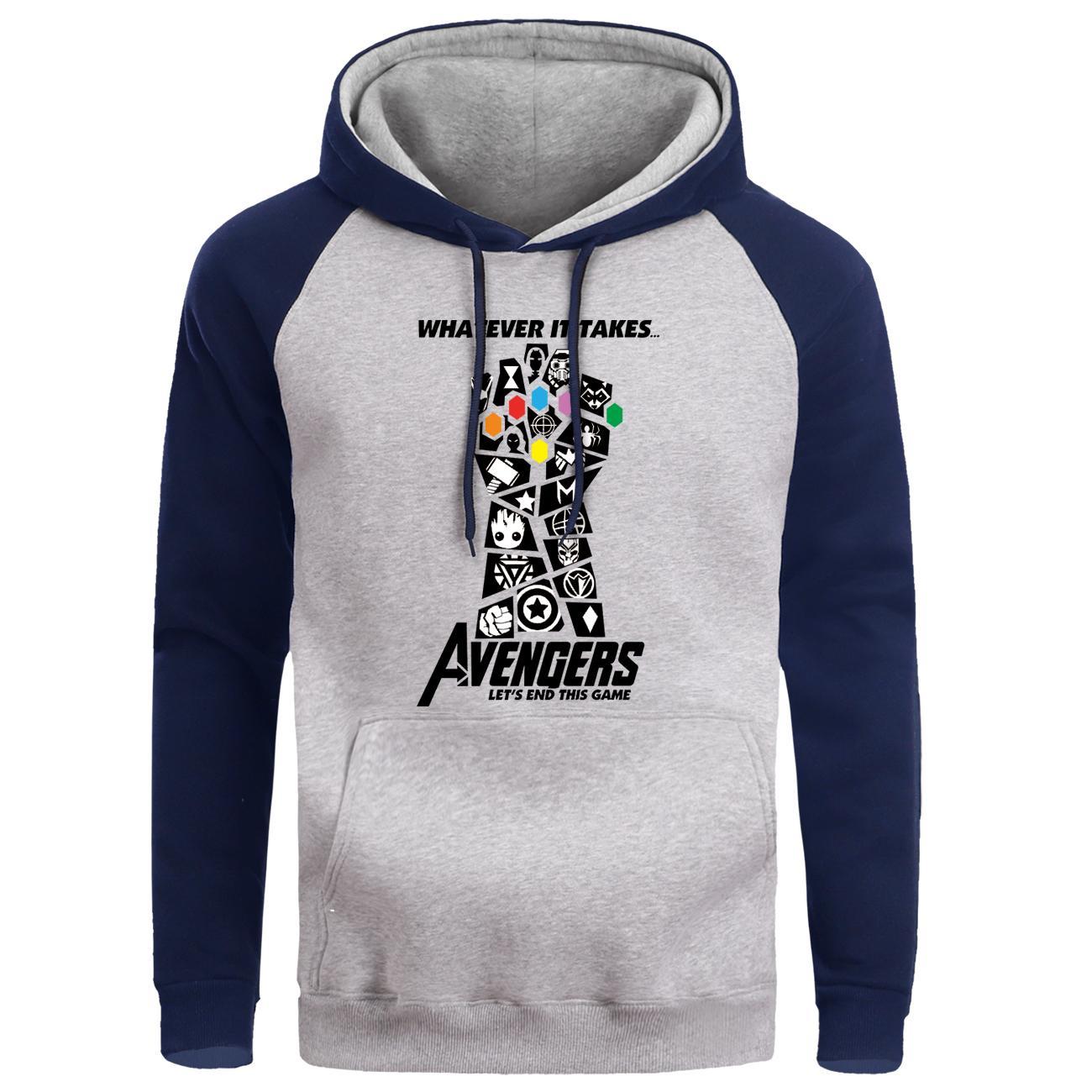 Thanos Os Vingadores joias do infinito Raglan Moletons Hip Hop New Hoodies Homens 2019 Streetwear manga comprida Roupa Quente com capuz