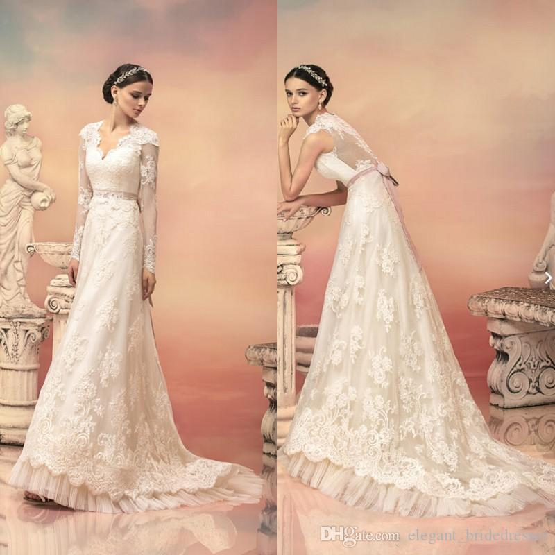 2019 New Arrival Vintage Lace Bridal Wedding Gowns With Removable Long Sleeves V Neck Bow Sash Sweep Train Pleat Bridal Dresses