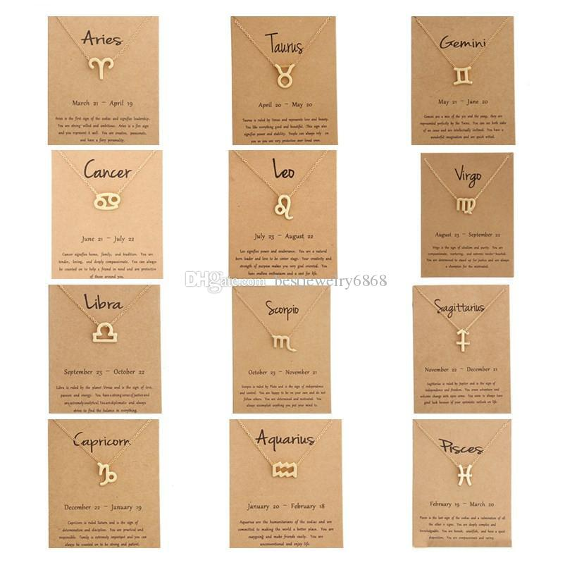 Hot 12 zodiac Necklaces with Gift card constellation sign Pendant Gold chains Necklace For Men Women Fashion Jewelry in Bulk