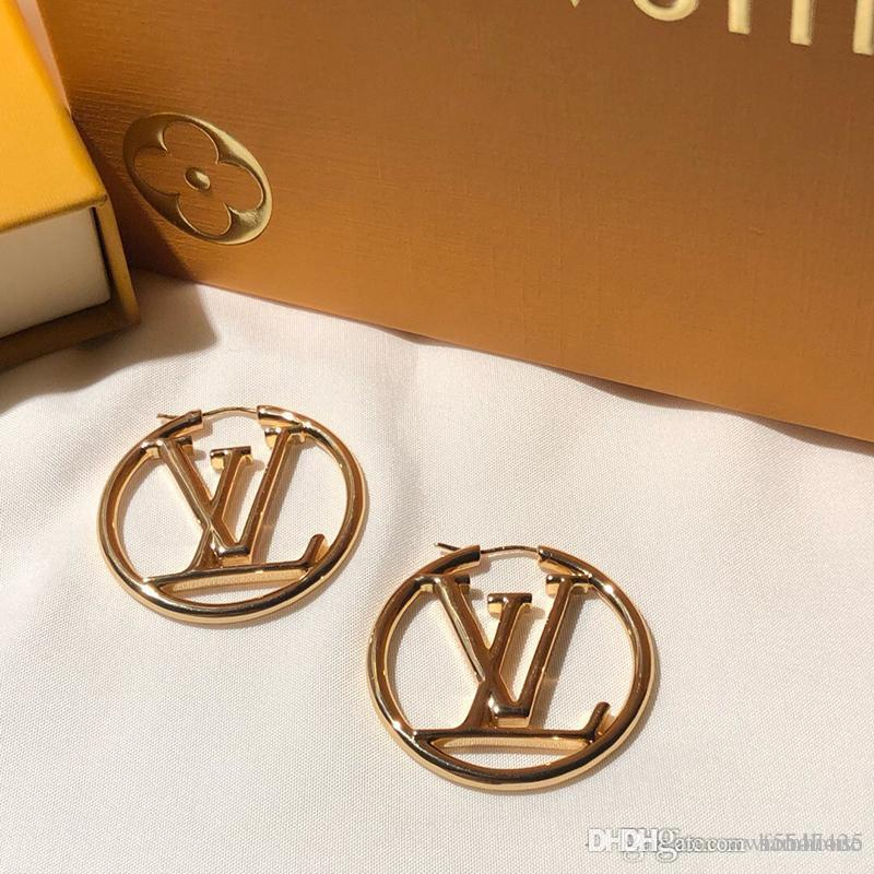 L de diamant de luxe célèbre marque logo stud bijoux design orecchini boucle d'oreille fashional monogramme resille