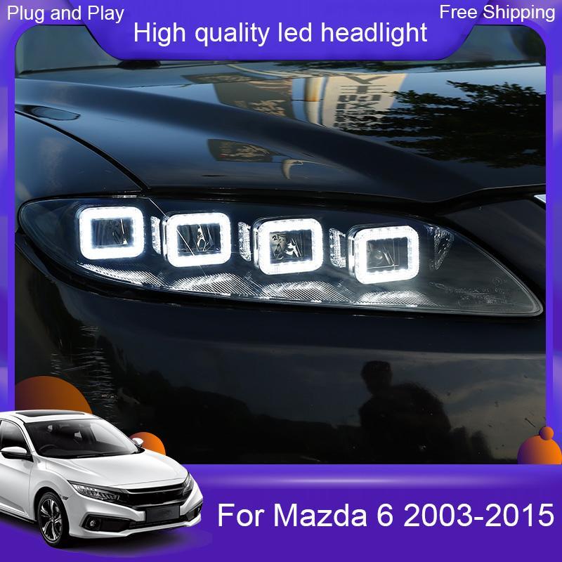 Mazda 6 Farlar 2003-2015 Mazda 6 LED Far DRL yüksekten düşüğe doğru Işın LED'i 4 LED mercek Dinamik flama dönüş sinyali için Araç Şekillendirme