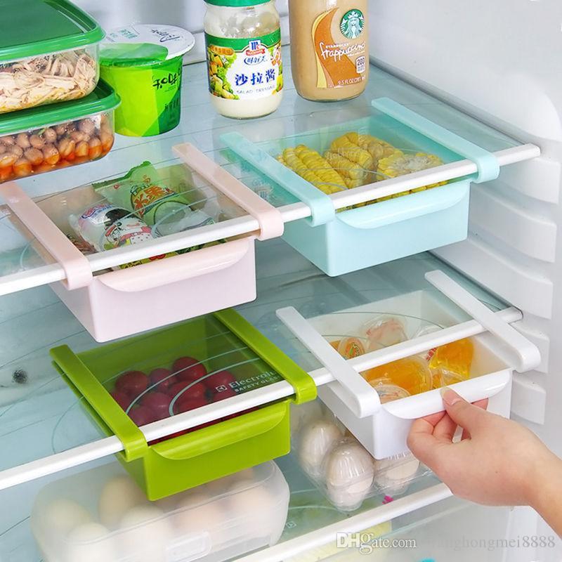 Nueva diapositiva Cocina Nevera Congelador ahorrador del espacio del organizador del almacenaje estantes Holder