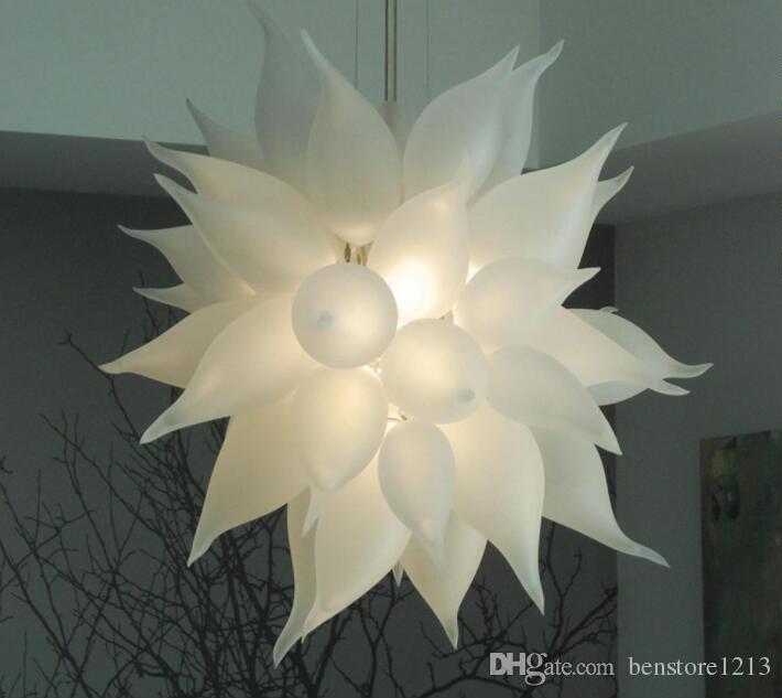 Moderne Led Lustre en cristal clair ronde Cercle Salon moderne blanc givré verre soufflé Lustre suspendu Suspension avec ampoules LED