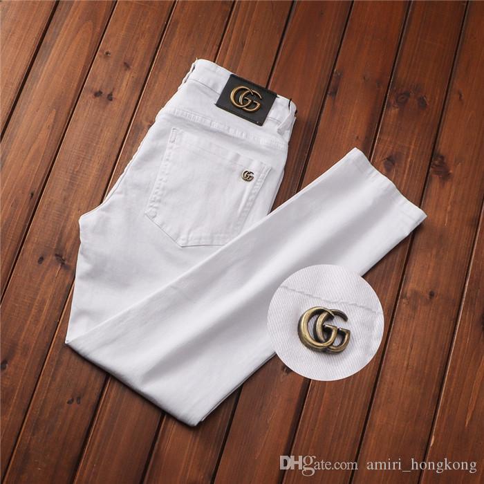 Stile Di Estate Jeans Bianchi Famosi Designer Casual Slim Stretch Dritto Alla Moda Jeans Strappati Di Alta Qualità Pantaloni Estivi Jeans 28-38