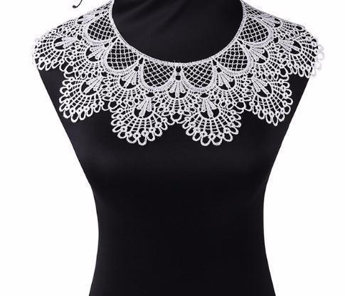 1 pc 2 Cores Bordado Rodada Ripple Neck Collar Africano, DIY Handmade Rendas Tecidos Para Costura Suprimentos Artesanato