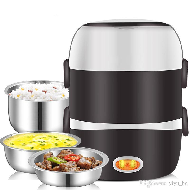 Mini elektrischer Reiskocher Edelstahl 3 Ebenen Dampfer Tragbare Mahlzeit Thermal Heizung Lunchbox Nahrungsmittelbehälter-Wärmer