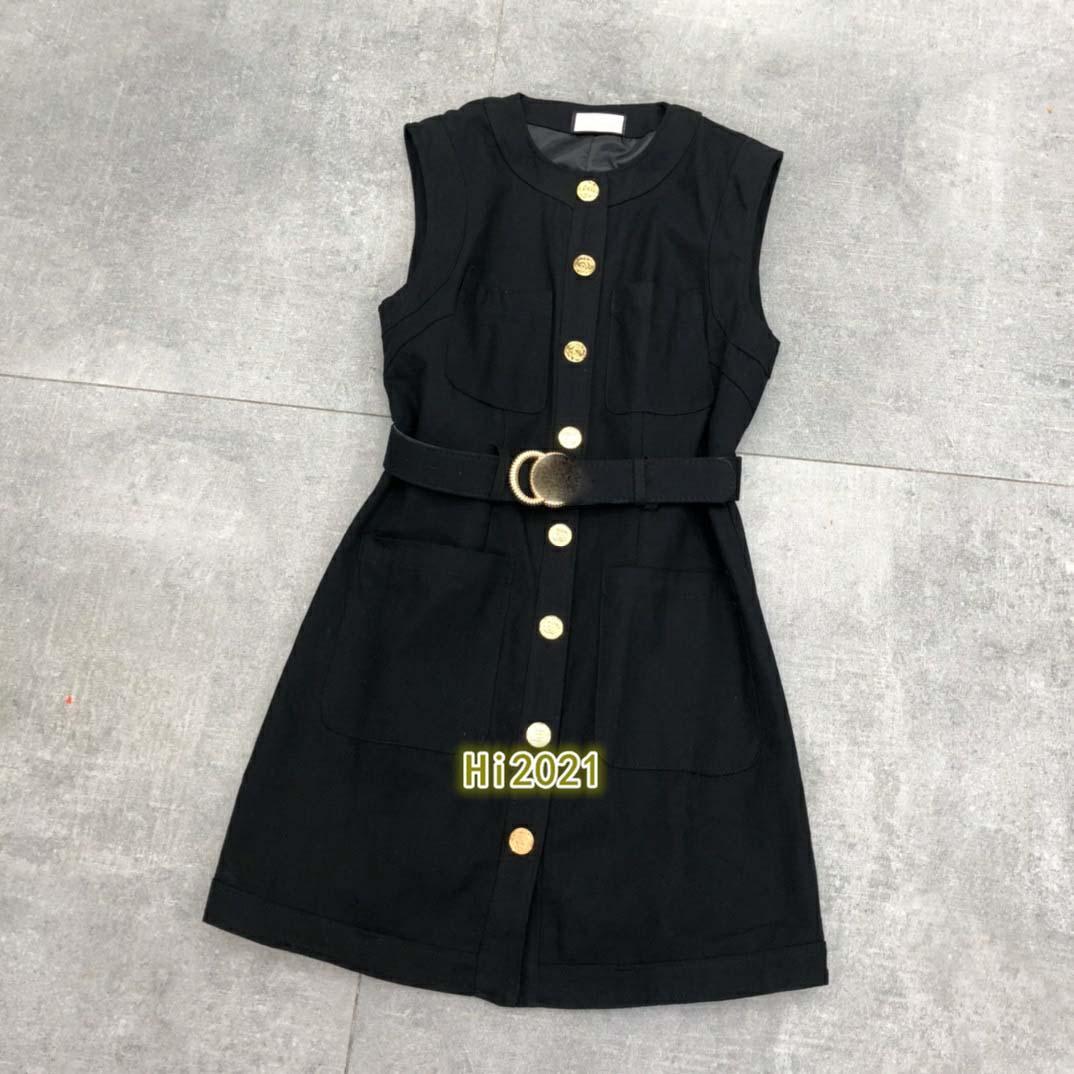 하이 엔드 여성 여자 캐주얼 재킷 드레스 하나의 가슴 크루 넥 민소매 멀티 포켓 벨트 2020 패션 고급스러운 디자인 느슨한 드레스 스커트