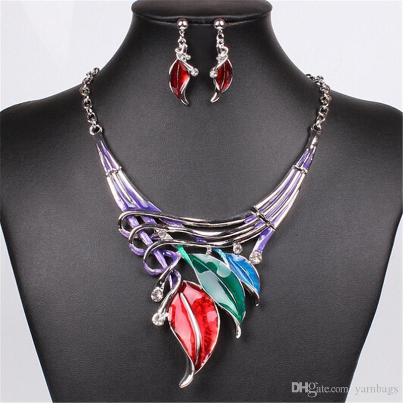 Marke blatt Schmuck Sets Kristall Perlen Chocker Aussage Halskette Ohrringe Set Silberlegierung Bunte Mode Frauen Mädchen Halskette Tropfenohrring