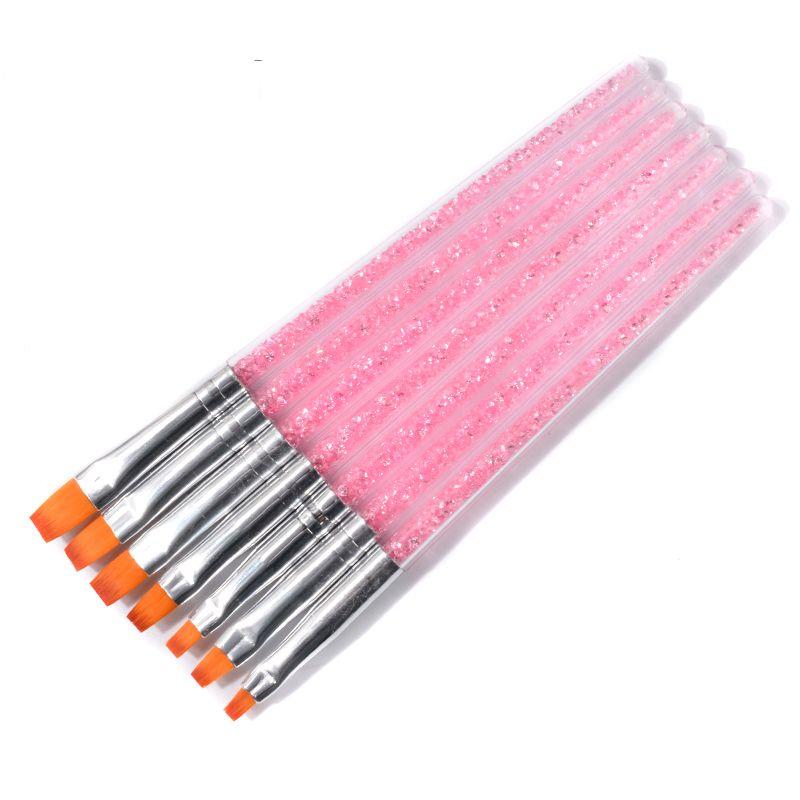 7pcs Pink Rhinestones Handle And Nylon Hair Nail Art Brush Pen UV Gel Polish Painting Drawing Design Manicure Accessory